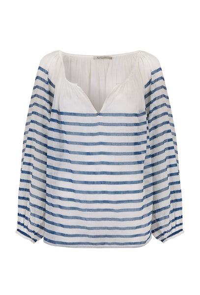 Matthew Cream Cotton and Blue Stripe Blouse