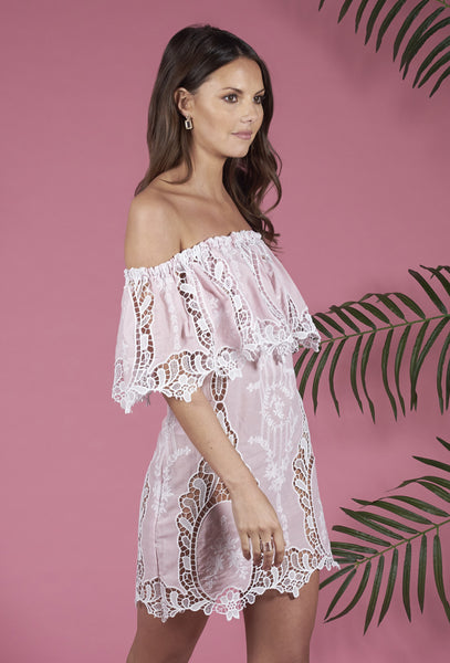 Pale Pink Lace Off-The-Shoulder Ilara Dress