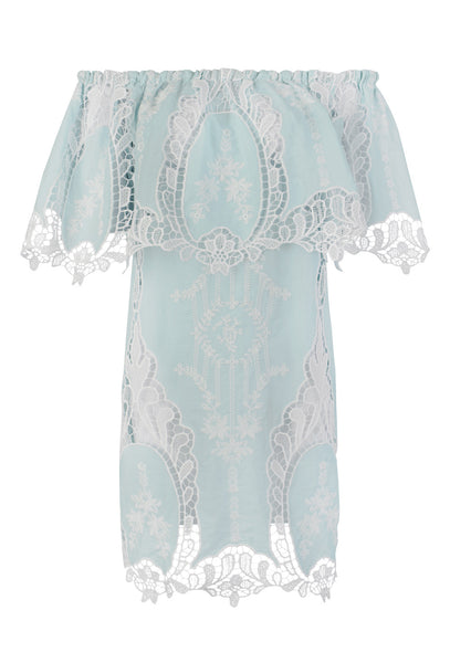 Pale Blue Lace Off-The-Shoulder Ilara Dress