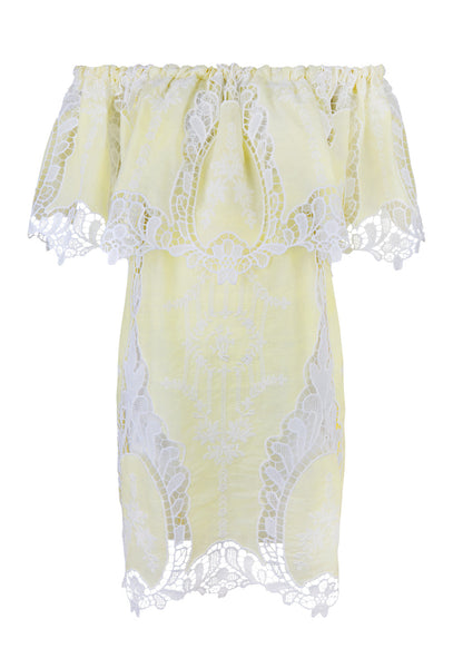 Yellow Lace Off-The-Shoulder Ilara Dress