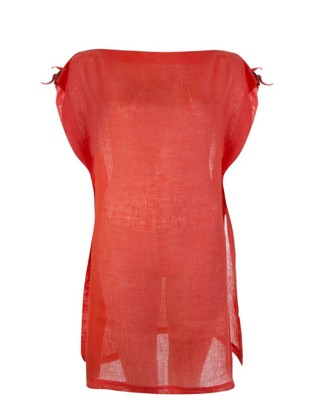 Orange Maboul Linen Tunic Kaftan