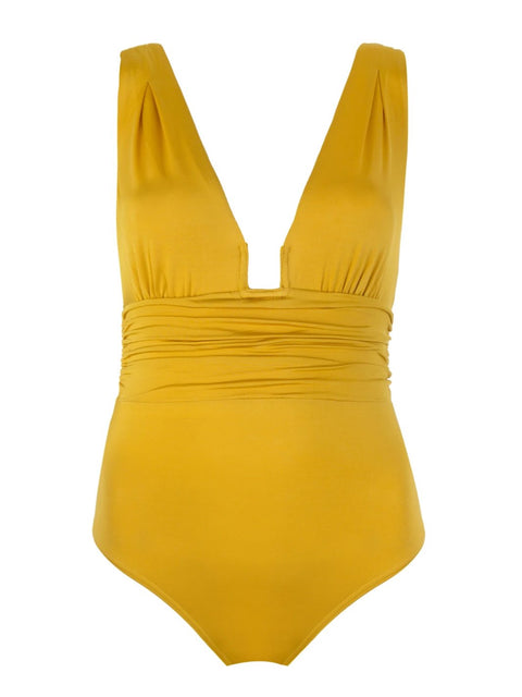 Mustard Yellow Ruched One Piece