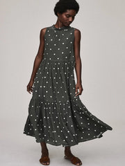 Olive Polka Dot Silk Tie Neck Dress