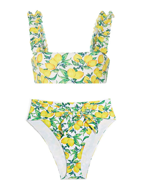 Lemons All Over High Waisted Bikini