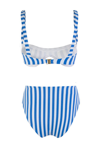 Blue And White Striped Underwired Bikini