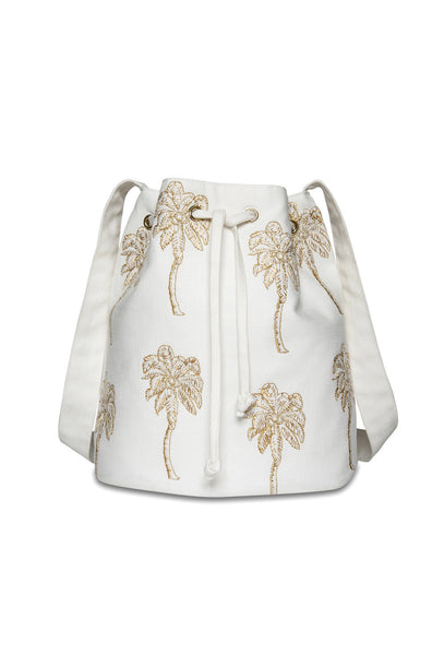 White Palmier Bucket Bag