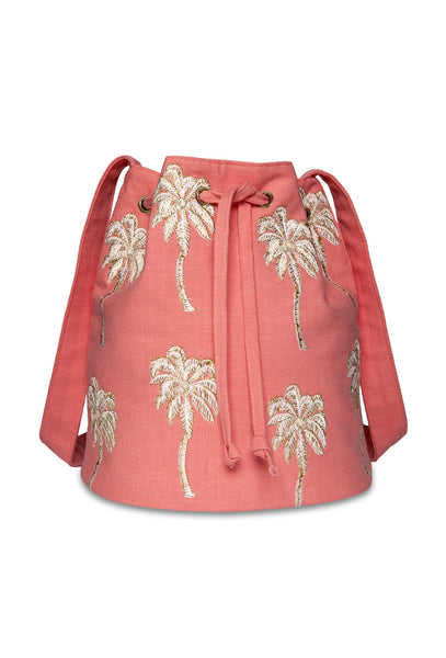 Coral Palmier Bucket Bag