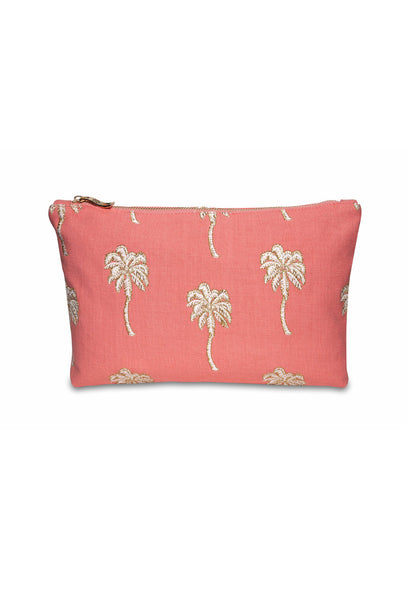 Coral Palmier Clutch Bag