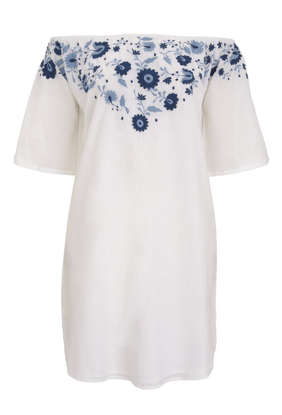 White Jasmine Mini Dress With Blue Embroidery - FINAL SALE ITEM
