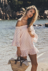 Pink Broderie Anglaise Provence Mini Beach Dress