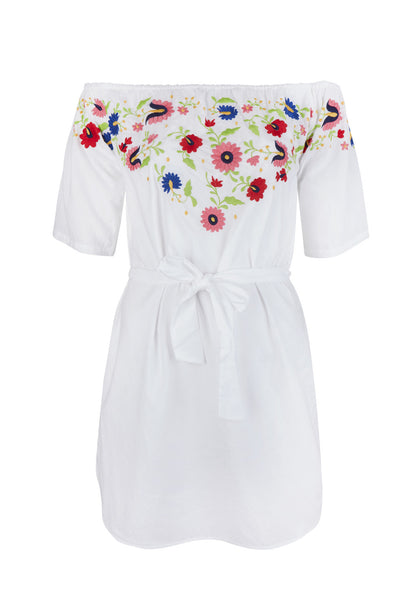 Embroidered White Evissa Mini Dress