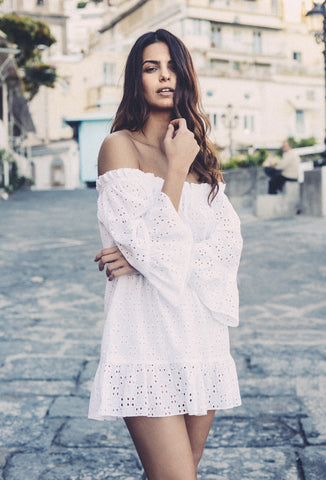 White Broderie Anglaise Provence Mini Dress