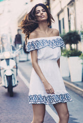 White And Navy Natalia Off-The-Shoulder Dress
