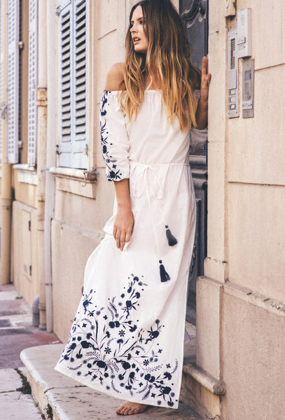 White Off-The-Shoulder Grimaud Maxi Dress