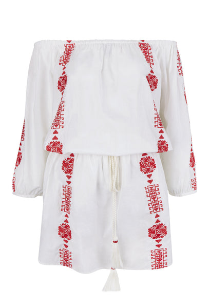 White Bardot Dress With Red Embroidery
