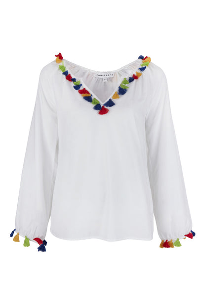 White Mambo Blouse with Tassels
