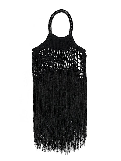 Black Fringed Net Bag
