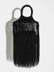 Mini Black Fringed Net Bag