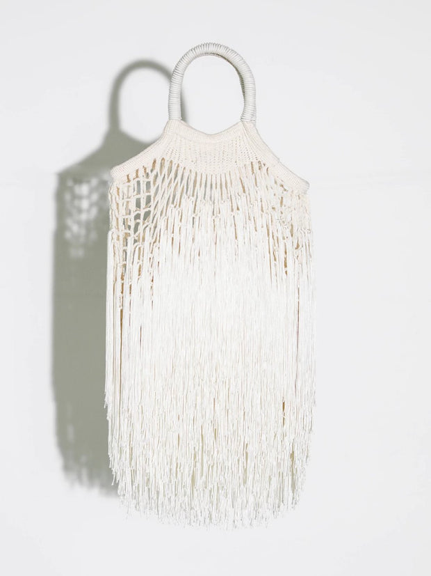 Ecru Fringed Net Bag