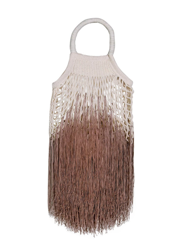 Mini Tan Ombre Fringed Net Bag