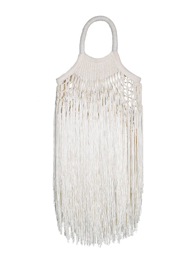 Mini Ecru Fringed Net Bag