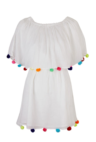 White Pom Pom Festival Dress
