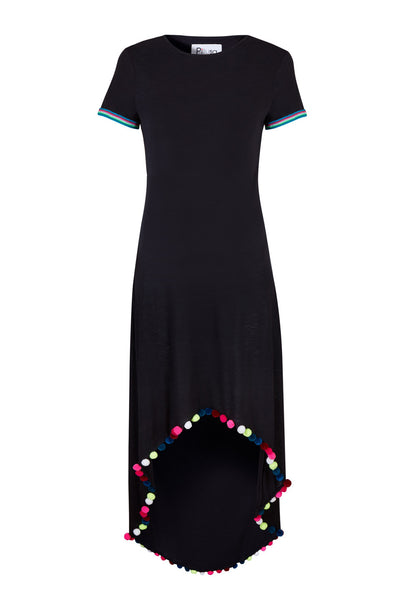 Black Vanessa dress with pompoms