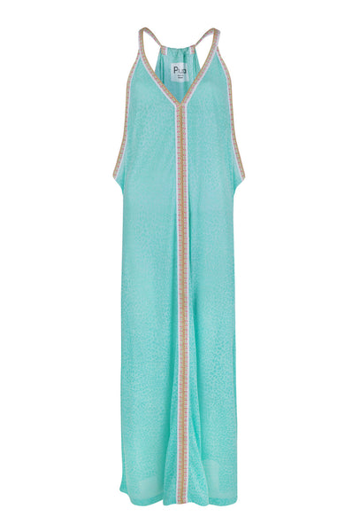 Mint Green Cheetah Maxi Sun Dress