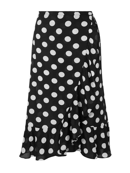 Black Polka Dot Gracie Wrap Skirt