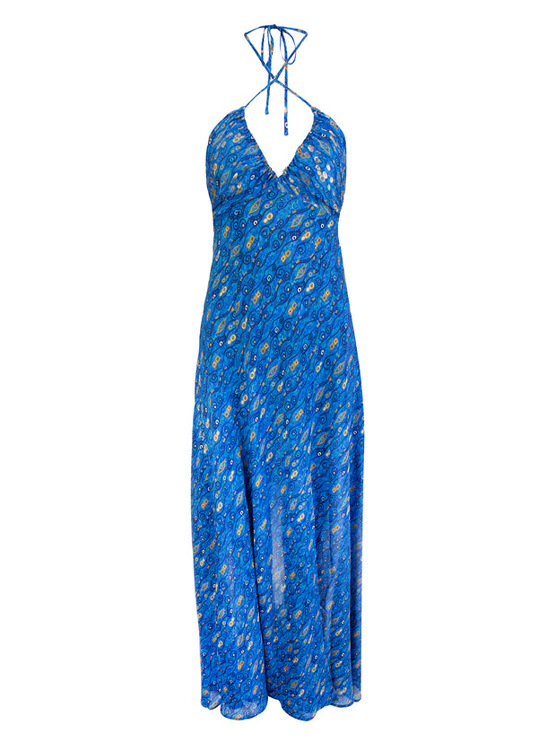 Blue Silk Caroline Dress