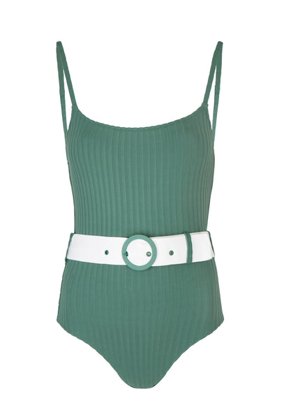 Emerald Green Ribbed Nina One Piece