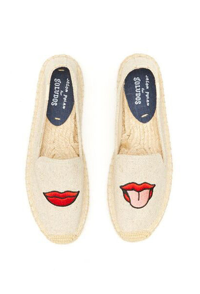Sand Canvas Lips Embroidered Espadrilles