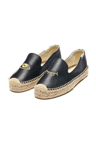 Black Leather Gold Wink Espadrilles