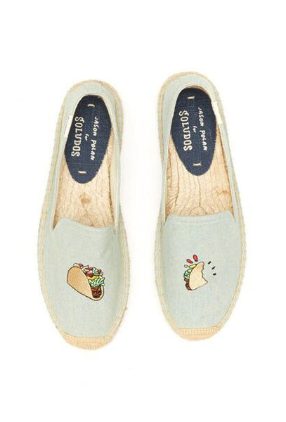 Pale Blue Canvas Taco Embroidered Espadrilles