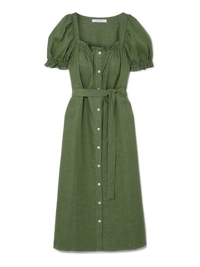 Green Brigette Linen Midi Dress