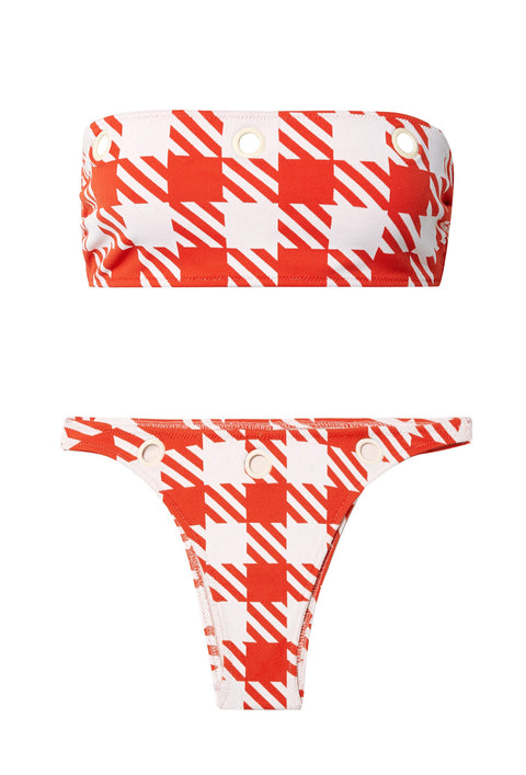 Red Houndstooth Annabelle Bikini