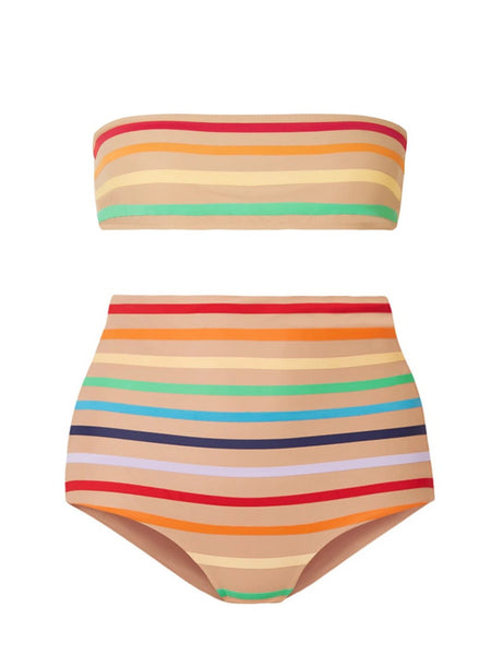 Nude Rainbow Stripe High Waisted Bandeau Bikini