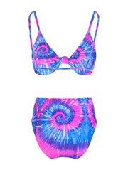 Blue And Pink Tie Dye Bikini
