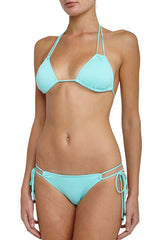 So Solid Aqua Triangle Bikini