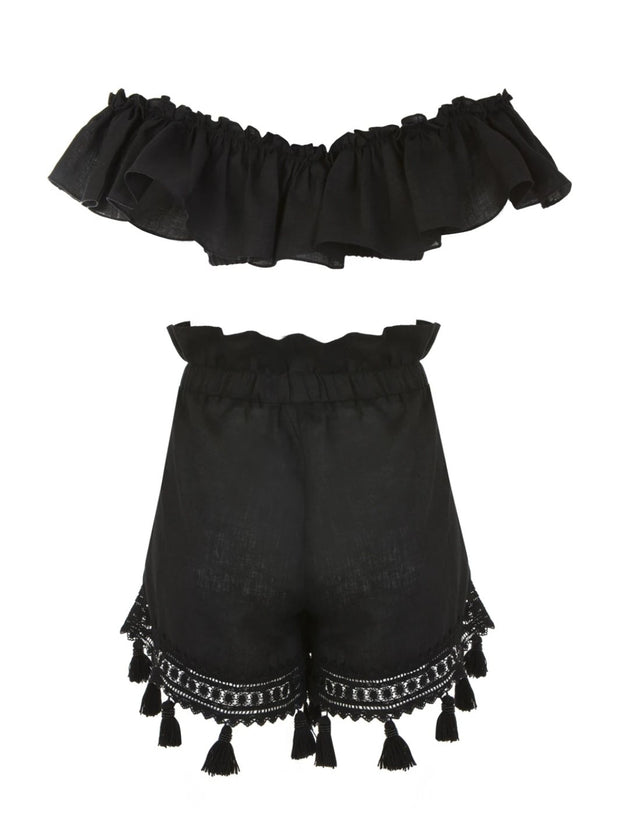 Black Linen Brigitte Co-ord Set