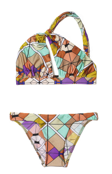 Printed Rhapsody Twist Neck Bikini