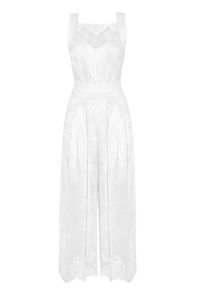 Empire Virtue Guipure Lace Paneled Linen Jumpsuit