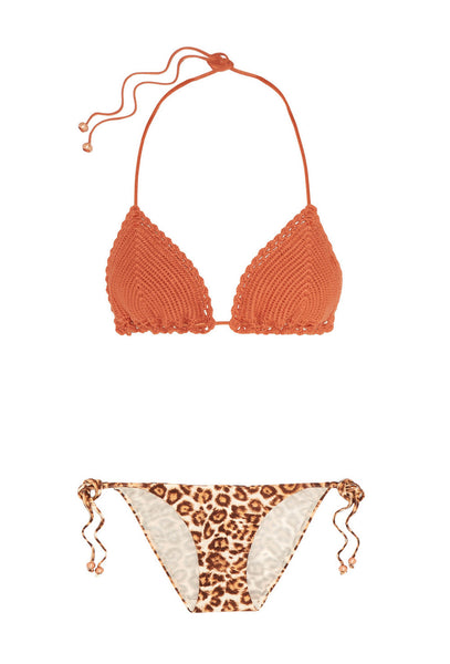 Leopard and Orange Crochet Alchemy Triangle Bikini