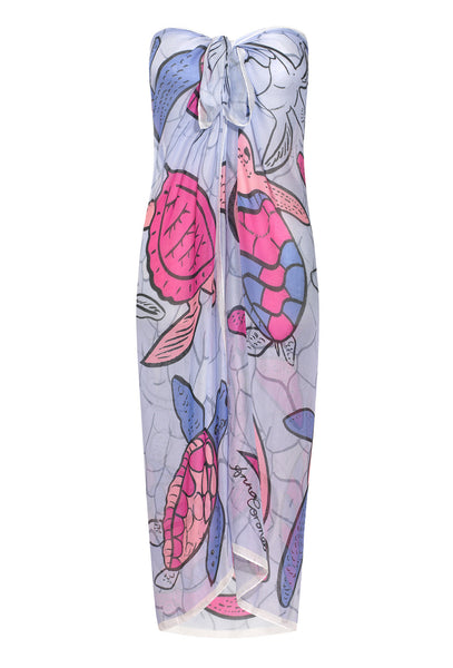 Pink and lilac Turtles modal sarong