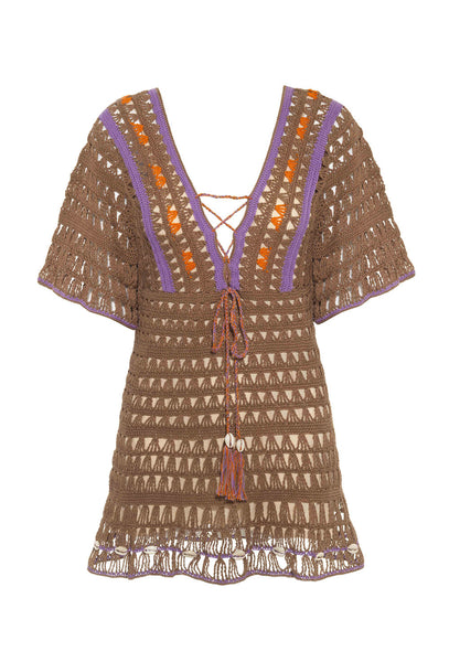Light Brown Crochet Medina Mini Dress - FINAL SALE ITEM