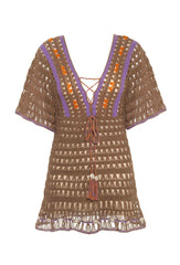 Light Brown Crochet Medina Mini Dress