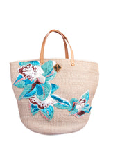 Blue Woven Flower Basket Bag