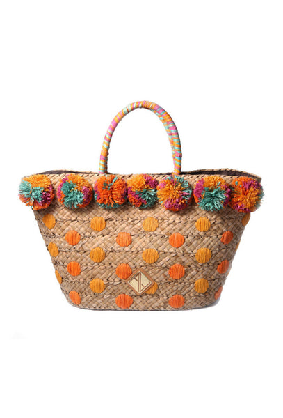Chiqui Basket Bag With Pom Poms