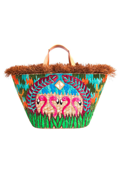 PRE-ORDER Multicoloured Flamingo Woven Basket Bag