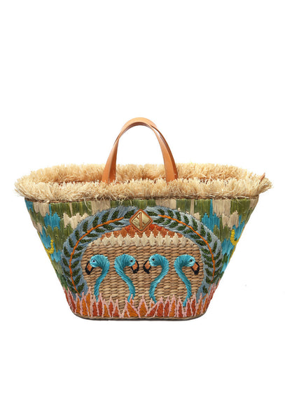 Blue Flamingo Woven Basket Bag